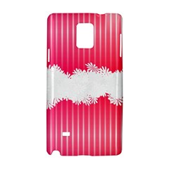 Digitally Designed Pink Stripe Background With Flowers And White Copyspace Samsung Galaxy Note 4 Hardshell Case