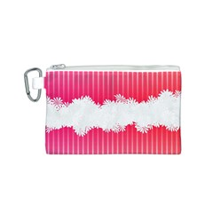 Digitally Designed Pink Stripe Background With Flowers And White Copyspace Canvas Cosmetic Bag (S)