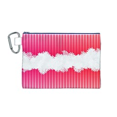 Digitally Designed Pink Stripe Background With Flowers And White Copyspace Canvas Cosmetic Bag (m)