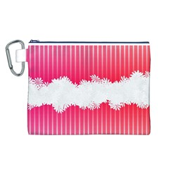 Digitally Designed Pink Stripe Background With Flowers And White Copyspace Canvas Cosmetic Bag (L)