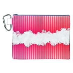 Digitally Designed Pink Stripe Background With Flowers And White Copyspace Canvas Cosmetic Bag (xxl)