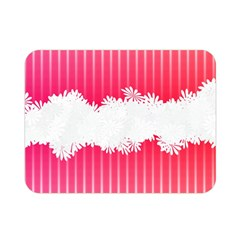 Digitally Designed Pink Stripe Background With Flowers And White Copyspace Double Sided Flano Blanket (mini)