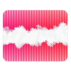 Digitally Designed Pink Stripe Background With Flowers And White Copyspace Double Sided Flano Blanket (Large)