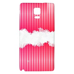 Digitally Designed Pink Stripe Background With Flowers And White Copyspace Galaxy Note 4 Back Case