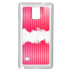 Digitally Designed Pink Stripe Background With Flowers And White Copyspace Samsung Galaxy Note 4 Case (White)