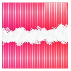 Digitally Designed Pink Stripe Background With Flowers And White Copyspace Large Satin Scarf (square)