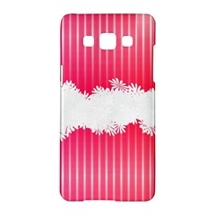 Digitally Designed Pink Stripe Background With Flowers And White Copyspace Samsung Galaxy A5 Hardshell Case