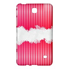 Digitally Designed Pink Stripe Background With Flowers And White Copyspace Samsung Galaxy Tab 4 (7 ) Hardshell Case