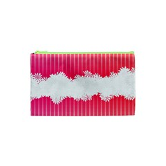 Digitally Designed Pink Stripe Background With Flowers And White Copyspace Cosmetic Bag (XS)