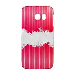 Digitally Designed Pink Stripe Background With Flowers And White Copyspace Galaxy S6 Edge