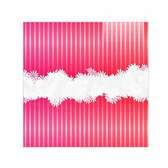 Digitally Designed Pink Stripe Background With Flowers And White Copyspace Small Satin Scarf (square)