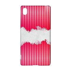 Digitally Designed Pink Stripe Background With Flowers And White Copyspace Sony Xperia Z3+