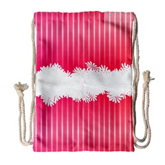 Digitally Designed Pink Stripe Background With Flowers And White Copyspace Drawstring Bag (Large)