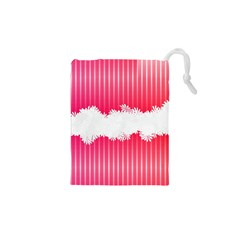 Digitally Designed Pink Stripe Background With Flowers And White Copyspace Drawstring Pouches (XS)