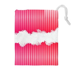 Digitally Designed Pink Stripe Background With Flowers And White Copyspace Drawstring Pouches (Extra Large)