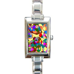 Abstract Digital Circle Computer Graphic Rectangle Italian Charm Watch