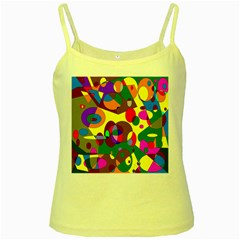 Abstract Digital Circle Computer Graphic Yellow Spaghetti Tank