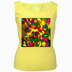 Abstract Digital Circle Computer Graphic Women s Yellow Tank Top
