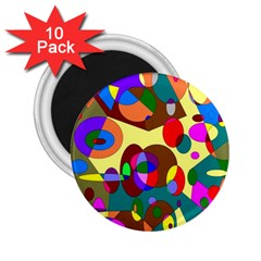 Abstract Digital Circle Computer Graphic 2.25  Magnets (10 pack)