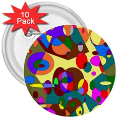 Abstract Digital Circle Computer Graphic 3  Buttons (10 pack)