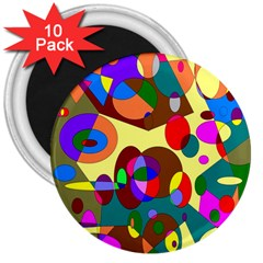 Abstract Digital Circle Computer Graphic 3  Magnets (10 pack)