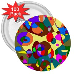 Abstract Digital Circle Computer Graphic 3  Buttons (100 pack)