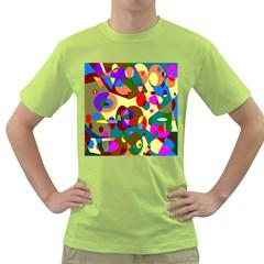 Abstract Digital Circle Computer Graphic Green T-Shirt