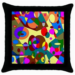 Abstract Digital Circle Computer Graphic Throw Pillow Case (black)