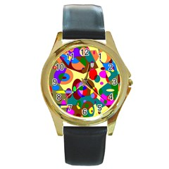 Abstract Digital Circle Computer Graphic Round Gold Metal Watch