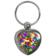 Abstract Digital Circle Computer Graphic Key Chains (Heart)