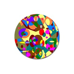 Abstract Digital Circle Computer Graphic Magnet 3  (Round)