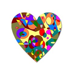 Abstract Digital Circle Computer Graphic Heart Magnet