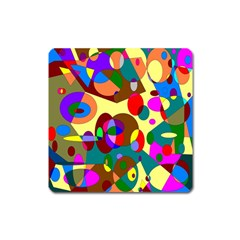 Abstract Digital Circle Computer Graphic Square Magnet