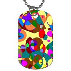 Abstract Digital Circle Computer Graphic Dog Tag (One Side)