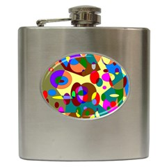 Abstract Digital Circle Computer Graphic Hip Flask (6 oz)