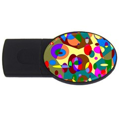 Abstract Digital Circle Computer Graphic USB Flash Drive Oval (2 GB)