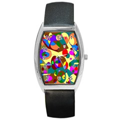 Abstract Digital Circle Computer Graphic Barrel Style Metal Watch