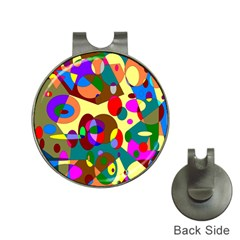 Abstract Digital Circle Computer Graphic Hat Clips with Golf Markers