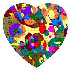 Abstract Digital Circle Computer Graphic Jigsaw Puzzle (Heart)