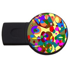 Abstract Digital Circle Computer Graphic USB Flash Drive Round (4 GB)