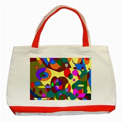 Abstract Digital Circle Computer Graphic Classic Tote Bag (red)