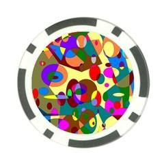 Abstract Digital Circle Computer Graphic Poker Chip Card Guard