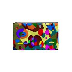 Abstract Digital Circle Computer Graphic Cosmetic Bag (Small)