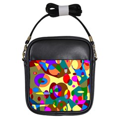 Abstract Digital Circle Computer Graphic Girls Sling Bags