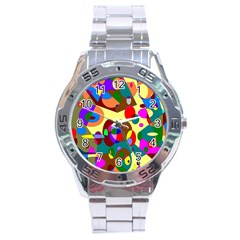 Abstract Digital Circle Computer Graphic Stainless Steel Analogue Watch