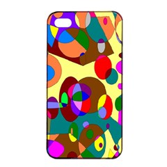 Abstract Digital Circle Computer Graphic Apple iPhone 4/4s Seamless Case (Black)