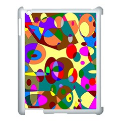 Abstract Digital Circle Computer Graphic Apple iPad 3/4 Case (White)