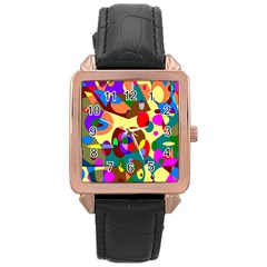 Abstract Digital Circle Computer Graphic Rose Gold Leather Watch