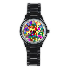 Abstract Digital Circle Computer Graphic Stainless Steel Round Watch