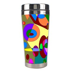 Abstract Digital Circle Computer Graphic Stainless Steel Travel Tumblers